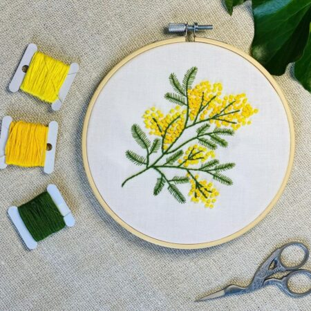 How to embroider a mimosa twig with a free pattern