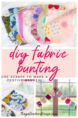 How to make a DIY fabric bunting with leftover fabric scraps. Create festive & re-usable fabric banner in a few easy steps. Quick & easy sewing project for beginners.