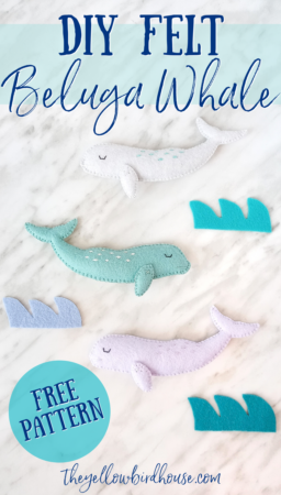 DIY Felt Beluga whale pattern. How to make a whale ornament with a free pattern download. DIY Embroidered felt whale. DIY felt animal sewing pattern to use in mobiles, garlands, ornaments and other decor!
