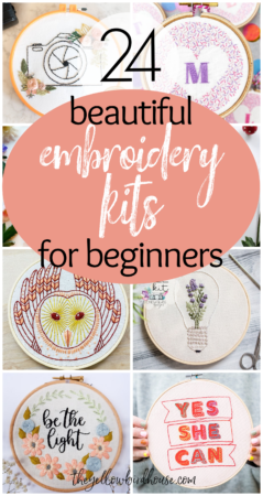 24 Beautiful embroidery kits for beginners. Learn how to embroider stunning designs with one of these DIY kits perfect for beginner sewists. Kits contain patterns, threads, needles, fabric and other materials or instructions to help you create a lovely piece of embroidered decor.