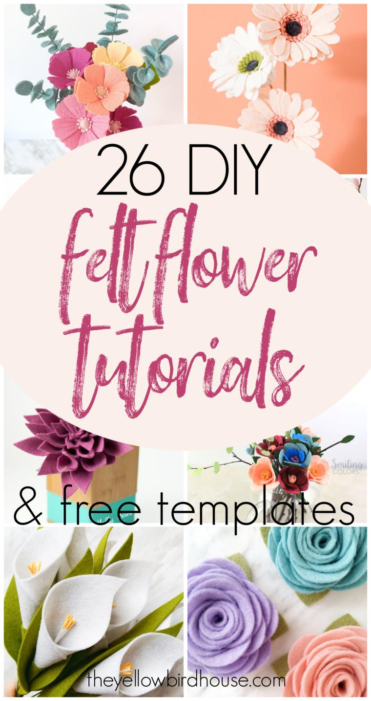 26 DIY Felt Flower Tutorials & Free Templates