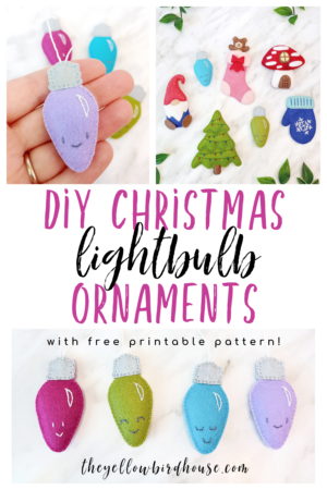 How to make a DIY Christmas ornament to decorate for the holidays. Easy felt lightbulb ornaments for beginners with free printable pattern download. Embroidered Xmas ornaments that are easy to sew and so cute!